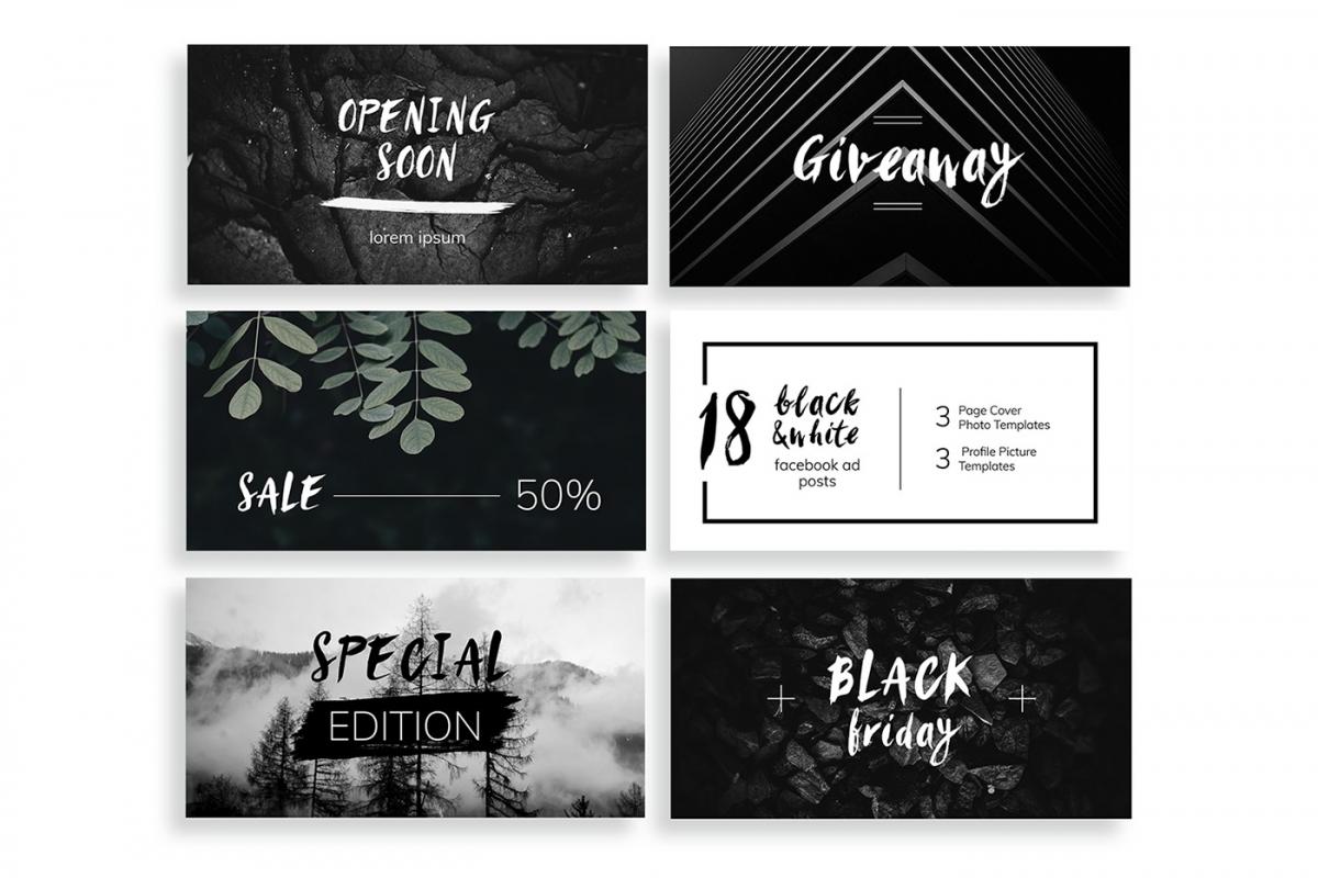 Black & White Facebook Ad Templates